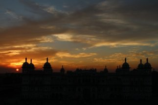 Janki Temple (Mandir) of Janakpur (Nepal) as seen during the sunset of Nov. 02, 2012.